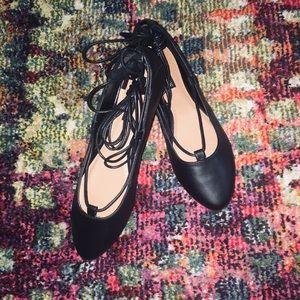 Shoes - NWOT double ankle tie ballet flats
